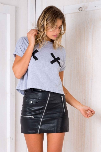 Crossed With You Top - Grey