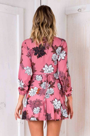 Clarissa Wrap Dress- Pink Floral