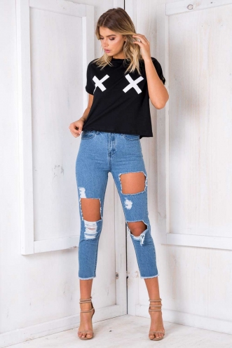 Crossed With You Top - Black