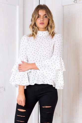 Eccles Cake Top - White Polka Dot