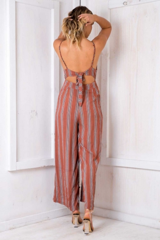Mojito Jumpsuit - Terracotta Stripe