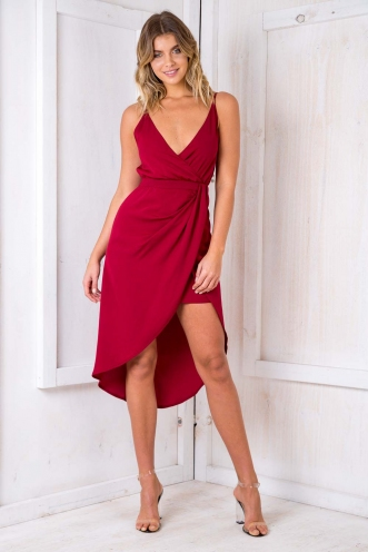 Livvy drape dress - Maroon