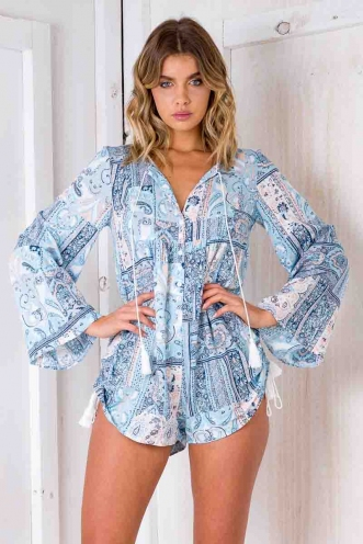 Work It Out Playsuit - Blue Pattern