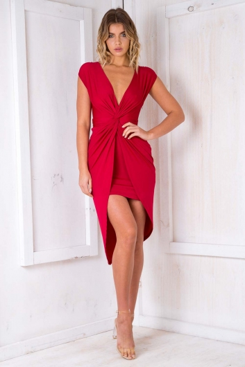 Tahlia Wrap Dress - Maroon