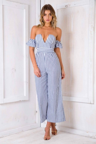 Financier Cake Jumpsuit - White/ Blue Stripe