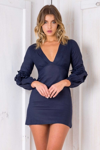 Peach Melba Dress - Navy