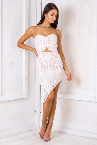 Blonde Brownie Dress - Nude/ White Lace