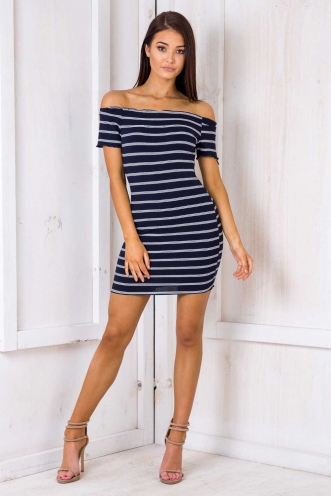 Bundt Cake Dress - Navy Stripe