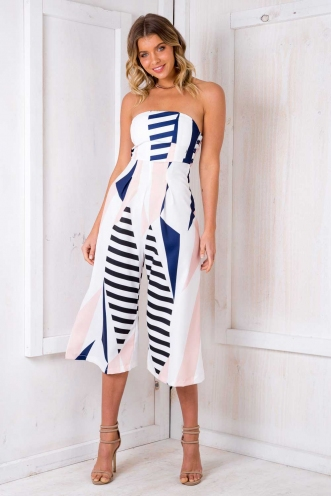 Lotus Jumpsuit - White Geometric