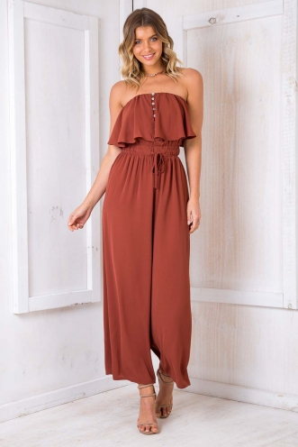Date Square Jumpsuit - Terracotta