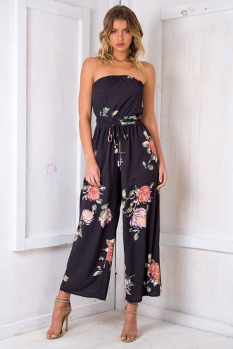 Party Nights Jumpsuit - Black Print