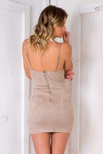 Funkytown Dress - Tan Suede