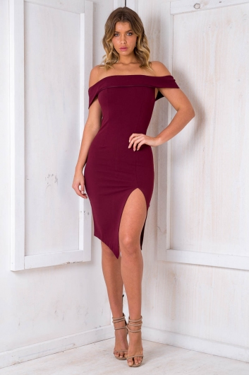 8f5bbf0ecdea Renata off the shoulder dress - Maroon - Stelly