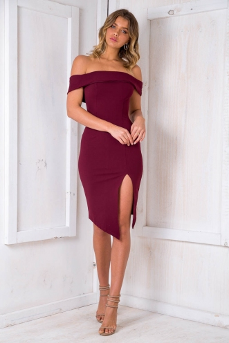 Renata off the shoulder dress - Maroon