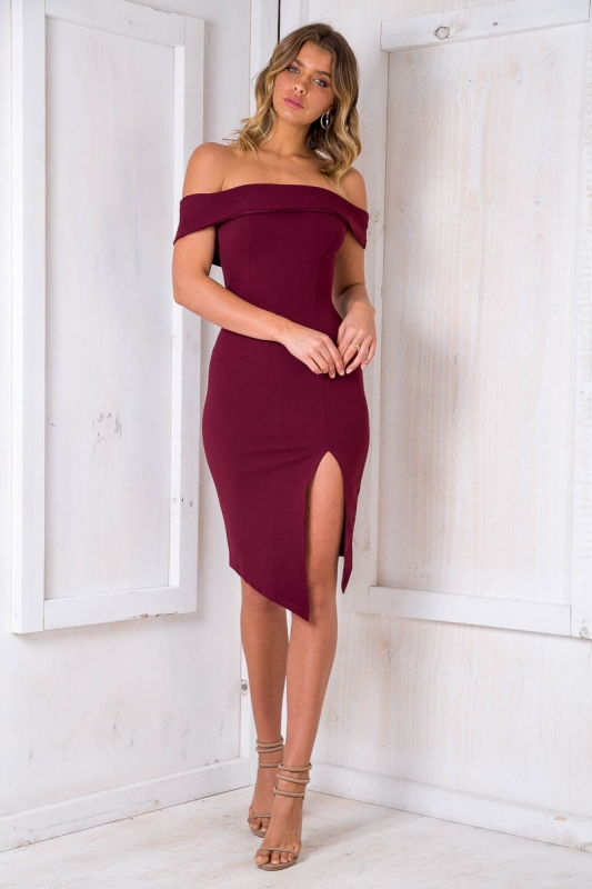d057caf0f5b8 Renata off the shoulder dress - Maroon. Loading zoom