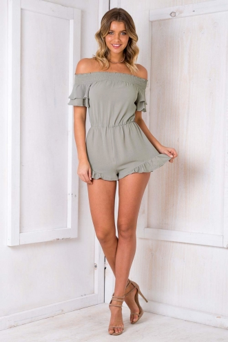 Frog Cake Playsuit - Light Khaki
