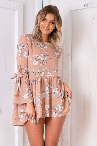 Cool Cats Dress - Nude Floral