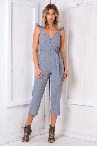 Soufflé Jumpsuit - Navy/ White Chequered