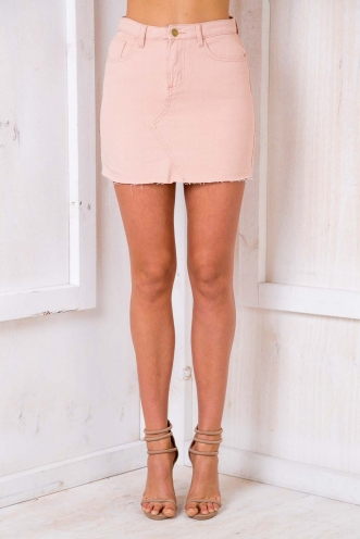 Casey Denim Skirt - Blush