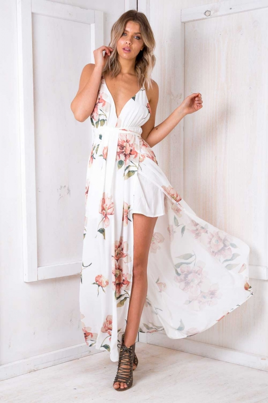 casual white floral maxi dress