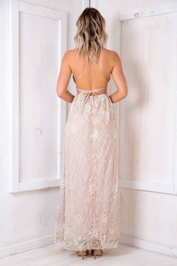 Laila Dress - Nude/ Sequin