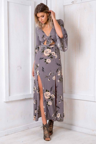 St. Honoré Cake Dress - Grey Floral