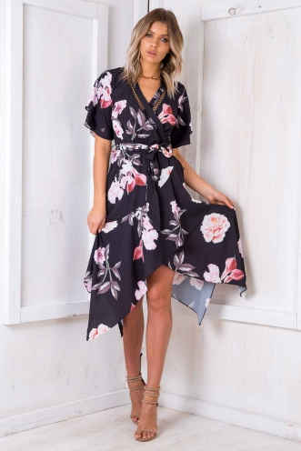 Swiss Roll Dress - Black Floral