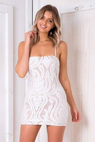 Marble Cake Dress - Nude/ White Lace