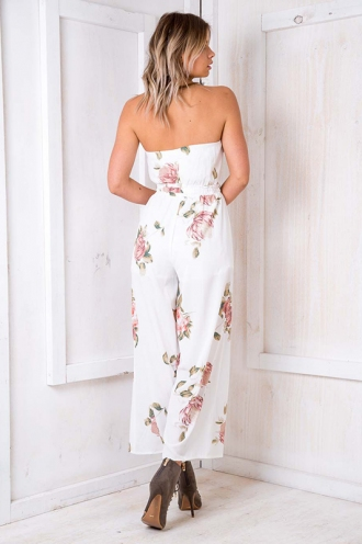 Party Nights Jumpsuit - White Floral