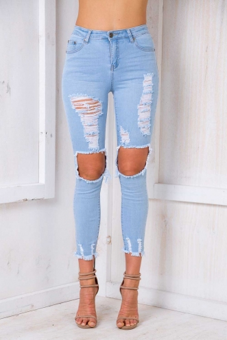 Wine Cake Jeans - Light Blue Denim