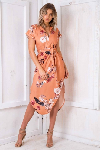 Pippa Dress - Peach Print
