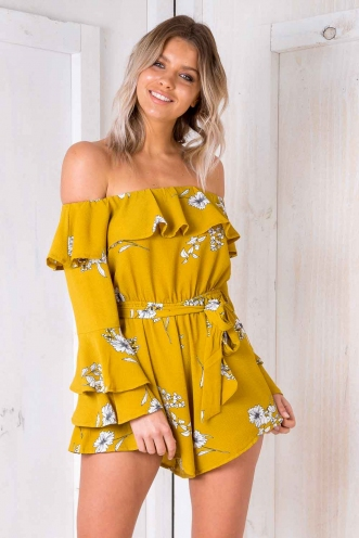 Wonderful World Playsuit - Mustard Floral