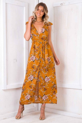 Pumpkin Bread Dress - Mustard Floral