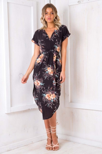 Pippa Dress- Black Floral