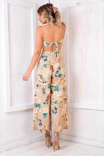 Spirit Walker Jumpsuit - Nude Floral