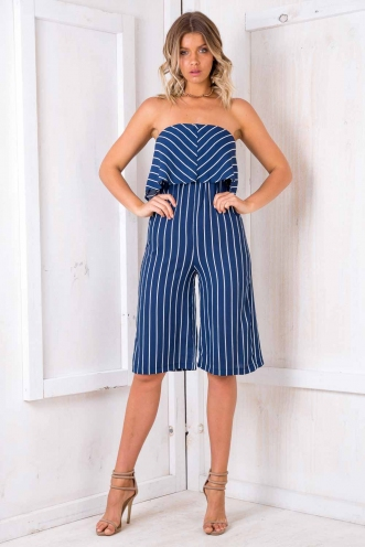 Coffee Cake Jumpsuit - Blue/ White Stripe