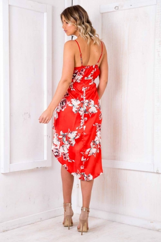 Livvy Drape Dress - Red Floral
