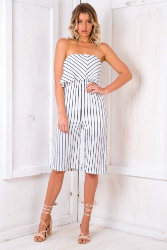 Coffee Cake Jumpsuit - White/ Black Stripe