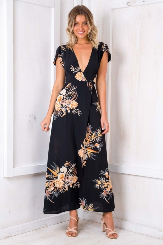 Born Free Maxi Dress - Black Print