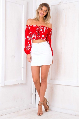 San Diego Top - Red Floral