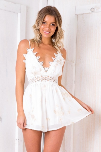 Turf Cake Playsuit - White Floral