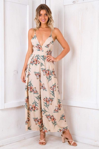 Mojito Jumpsuit - Nude Floral