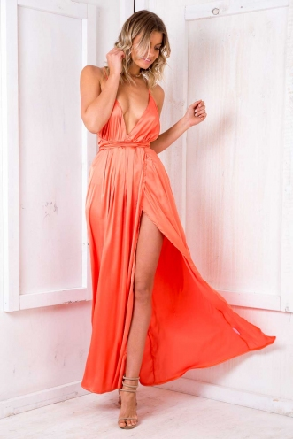 Agnes satin maxi dress - Orange