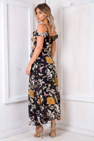 Layla Maxi Dress - Black Print