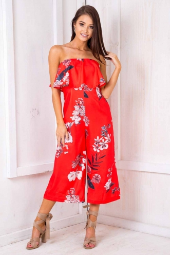 Natalia Jumpsuit - Red Floral