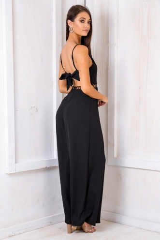 Peach Brown Betty Jumpsuit - Black