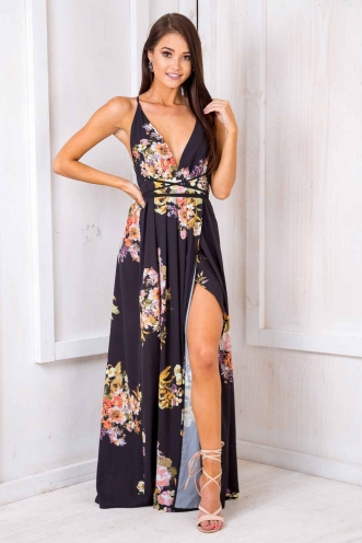 Agnes Floral Maxi Dress - Black Pattern