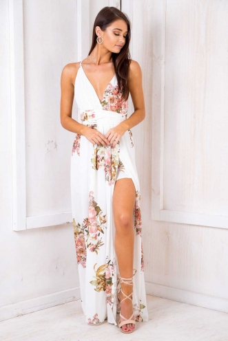 Agnes Floral Maxi Dress - White Pattern