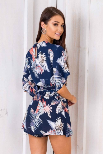 Snowy Moon Cake Playsuit - Navy Floral