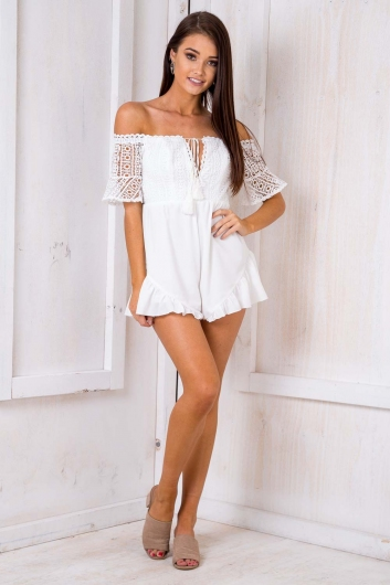 Apple Blood Orange Buckle Playsuit - White